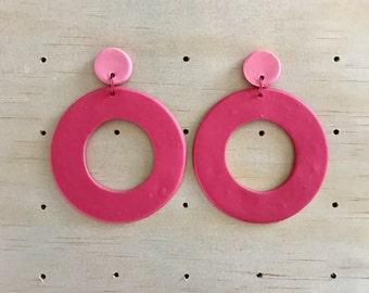 Statement polymer Hoop Drop Earrings