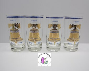 Retro Glass Culver Gold Liberty Bell Tumbler Glasses Set