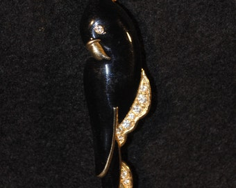 Vintage Black and Gold Parrot Brooch