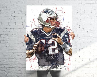 Tom Brady New England Patriots - Sports Art Print Poster - Watercolor Abstract Paint Splash - Kids Decor - Gifts for Men - Man Cave