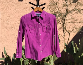 Purple Cowgirl Shirt, Western Vintage Women's Blouse, Rodeo Top, Country Style, Western Casual, Medium