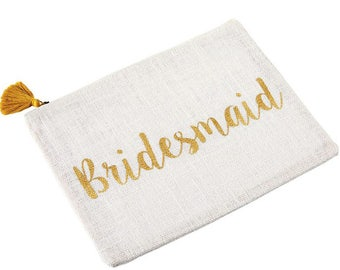 Bridesmaid Burlap Carry All Zipper Pouch, Bridal, Bridal Gifts, Bridesmaids, Bridesmaids Gifts, Gifts, Gifts for her, Burlap, Accessories
