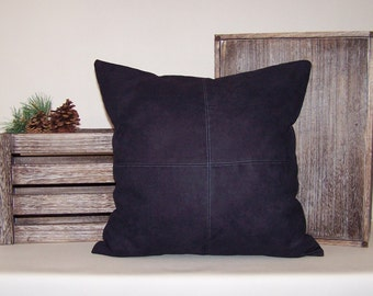 Black Micro-Suede Pillow Cover with Topstitching 18x18
