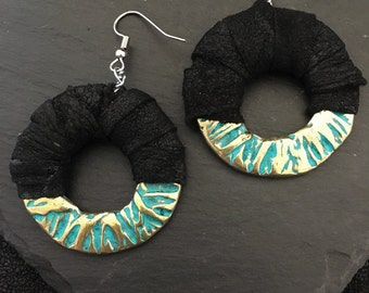 Maya Style Leather Earrings