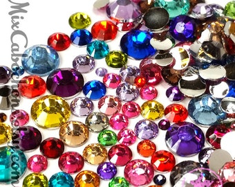 500pcs multi Mix Size assorted Color flatback 14 facet cut resin rhinestone crystal Bling Bling cabochon decoden deco phone case nail art