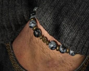 Martial Art Jewelry Men Gemstone Bracelet Healing Bracelet Men Gift For Him Gift Obsidian Bracelet Grey Bracelet Yin Yang Coin Tibet Man Men