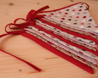 Vintage look double sided fabric Bunting - Perfect for home decoration, parties and events
