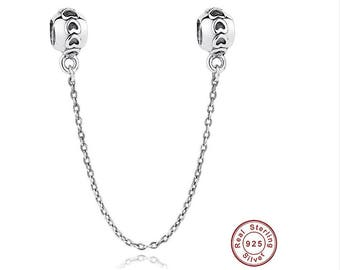 SILVER HEART Safety Chain Charm,925 Sterling Silver, Fit Pandora, European Snake Chain Charm Bracelet, Screw, Fashion, Female, DIY Jewelry