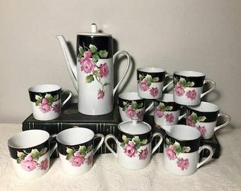 Lefton China Coffee Set 4503 , Black White Rose Pattern , Hand Painted Tea Pot , 8 Tea cups , Demetasse , Tea Set , Chocolate Set