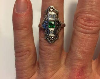 Vintage Edwardian 18K White Gold Diamond and Green Glass Ring