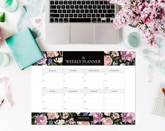 A3 Floral Planner – Weekly Planner Pad – Desk Planner – Desk Calendar – Floral Print – Desk Organiser – Desk Pad