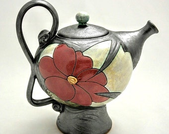 Ceramic Teapot,Pottery teapot, Unique quirky teapot, Flower teapot - 1200ml, Mothers  Day gift, Tea and Coffee pots,Handmade kettle