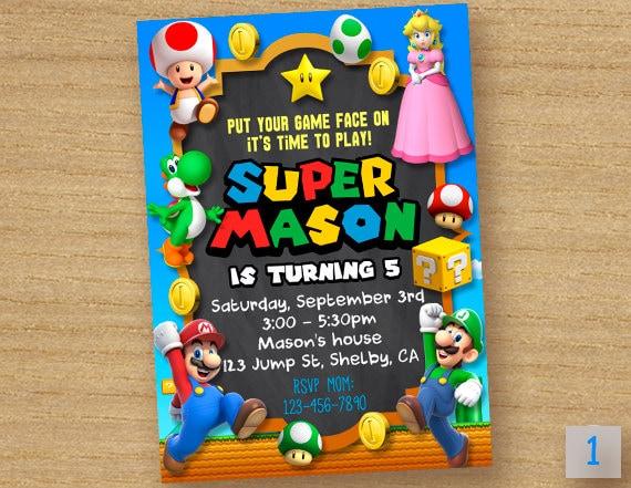 Super Mario Invitation Super Peach Invitation Princess Peach – Mario Party Invitations
