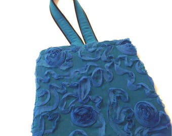 Victorian Inspried Bag, Victorian Antique Blue Frayed Bag, Victorian Era Embroidered Frayed Roses Bag, Victorian to 20s Era Bag