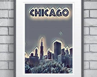 Chicago   minimalist sunset  poster 11 by 14 inches minimalist style