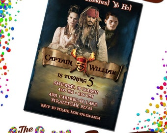 Pirates of the Caribbean Invitations, Pirates of Caribbean Birthday, Birthday Invitation , Pirates, Pirates of Caribbean Party,  TCD-049