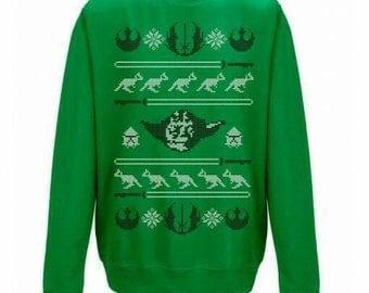 New Star Wars Yoda Jedi Christmas Funny  Xmas Sweater // Green Sizes Small-XXL