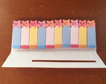 Kawaii cute Pigs sticky tabs Stationary Storage Organizer Bag School Office Supply Planner Stationery