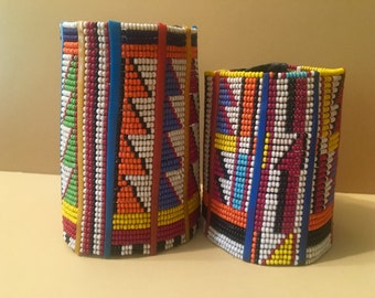 Massai beaded cuff with vegan leather closure