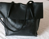 Handmade black leather crocodile embossed shoulder bag tote purse satchel top handle bag
