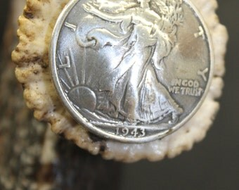 Ash and White tail deer antler cane w/silver dollar replica coin (C3)