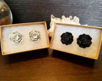Rose earrings, Stud Earrings, silver rose, black rose, sparkle, rose, stud earrings, stainless steel, elegant, classic, classy, gift for her