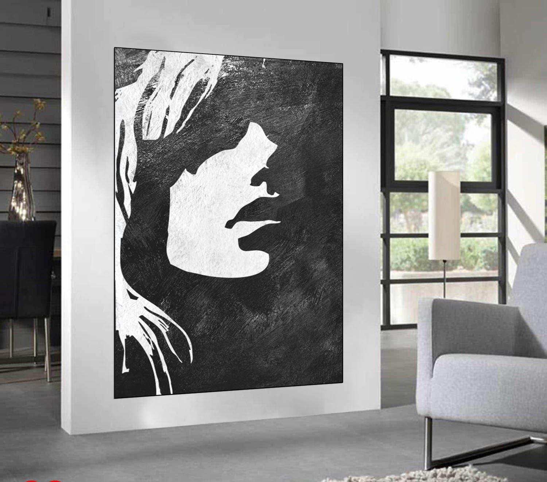 schwarz wei minimalistisch abstraktes gem lde frau gesicht. Black Bedroom Furniture Sets. Home Design Ideas