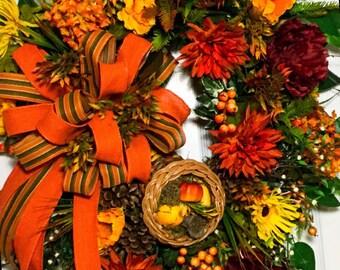 Orange fall wreath,grapevine wreath,XL wreath,cornacopia wreath,gourd wreath,fall floral wreath,fall home decor,burlap bow,autumn wreath