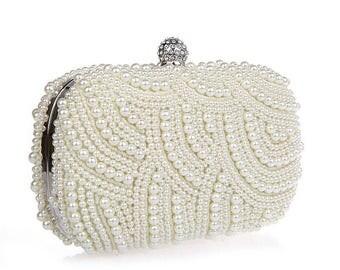 Ivory pearl clutch bag,Pearl clutch, evening clutch pearl, evening clutch,clutch purse, bridal clutch bag, clutch,Wedding ivory pearl clutch
