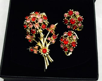1960's  Flower Rhinestone Brooch and matching clip earrings