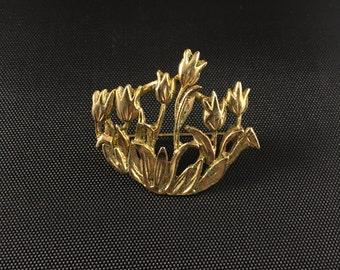 Vintage Roses Gold Brooch