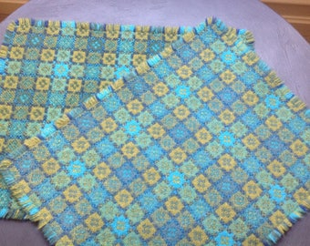 Mid century design 6x Welsh wool woven placemats