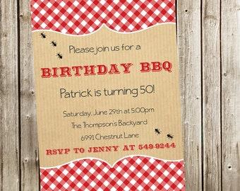 BBQ Birthday Invitation, BBQ Party, Adult Invitation
