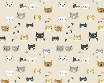 Imagination Cat / cat fabric / 20' cotton / 110cm *90cm / animal fabric / cute fabric / funny fabric / kids room deco /