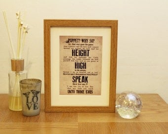 Shakespeare's A Midsummer Night's Dream typography print