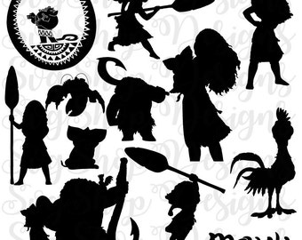 Disney Moana Silhouettes, Silhouette files,moana clip art,SVG files,png dxf eps,instant download, Disney Princess svg, moana svg, for Cricut