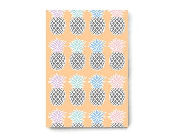 A5 Pineapple Notebook, Recycled, 48 Lined Pages, Cute Stationery
