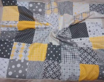 Flannel and Minky Plush Baby Quilt/Baby Blanket