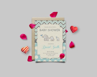 Digital Baby-Boy Shower Invitation / Digital Elephant Invitation