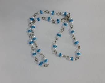 Custom Hand Made Necklace Sky Blue Rosettes with Pearl Beads