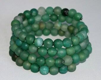 MATTE GREEN AGATE memory wire bracelet