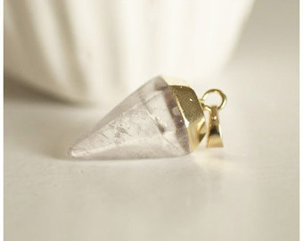 Golden tip support transparent Crystal cone pendant