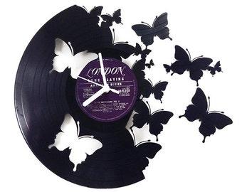 Butterflies Vinyl Clock