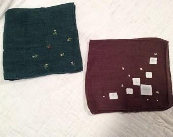 2 vintage linen handkerchiefs