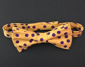 ECU Gold with Purple Polka Dots Bow Tie, LSU Gold & Purple Polkadot Bow Tie, Gold with Purple Polkadots Bow Tie, Adult Bow Tie, Boys Bow Tie