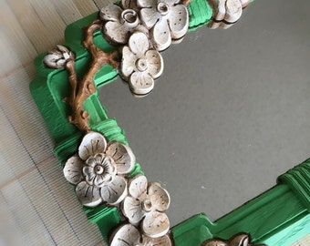 CLEARANCE: Vintage 1960s Dogwood Flower Framed Mirror, Green, White, & Brown