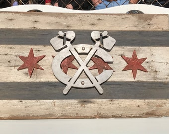 Vintage Blackhawks logo on wooden Chicago flag