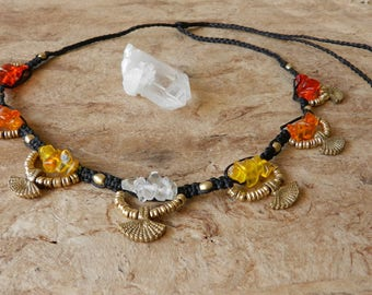 Quartz Necklace Tribal Red Orange Yellow White