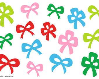 Christmas Bows, Presents, Bows - Cute Clipart, Clip Art - Commercial Use, Instant Download