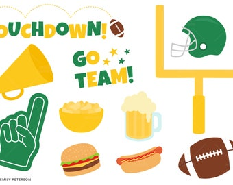 Football Party, Touchdown, Football Helmet - Cute Clipart, Clip Art - Commercial Use, Instant Download | V5